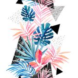 Modern art illustration with tropical leaves, grunge, marbling textures, doodles, geometric, minimal elements. Watercolor abstract painting. Modern art royalty free illustration