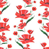 Watercolor abstract poppy flower pattern. Vector Royalty Free Stock Photo
