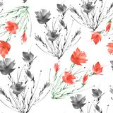 Watercolor abstract seamless background.Abstract flower poppy plant vector illustration