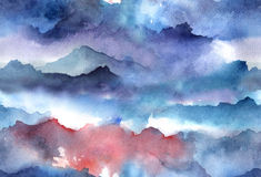 Watercolor abstract seamless pattern. Hand painted Watercolor bright seamless pattern with abstract mountains, clouds Royalty Free Stock Image