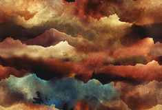 Watercolor abstract seamless pattern. Hand painted Watercolor bright seamless pattern with abstract mountains, clouds, space Stock Photos
