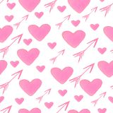 Watercolor seamless pattern of hearts and arrows in pink color. Ideal for backgrounds, textile, Wallpapers and design stock illustration