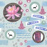Watercolor abstract seamless pattern lotus flowers and geometric figure. Watercolor seamless pattern lotus flowers and yoga with geometric figure on blue Royalty Free Stock Photography