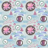 Watercolor abstract seamless pattern lotus flowers and geometric figure. Watercolor seamless pattern lotus flowers and yoga with geometric figure on blue Stock Photography