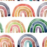 Watercolor abstract seamless pattern with multicolored rainbows. Hand painted natural phenomenon illustrations isolated