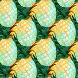 Watercolor abstract seamless pattern with pineapples. Fashion print design. Royalty Free Stock Photo