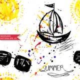 Watercolor abstract seamless pattern . Summer. Watercolor seamless pattern with sunglasses, ship and sun. Vector Stock Illustration