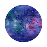 Watercolor abstract space circle. Cosmic background. Can be used for greeting cards, banners, logotypes Royalty Free Stock Images