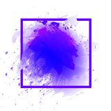 Watercolor Abstract Splash Frame, Square VECTOR Template, Ultraviolet Color. Watercolor Abstract Splash Frame, Square Border VECTOR Template, Ultraviolet Trendy Stock Image