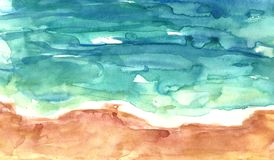Aerial view of sandy beach and blue sea, watercolor wash texture. Summer illustration. Watercolor abstract summer sea background. Tropical sandy beach, aerial stock illustration