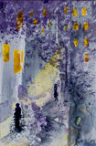 Watercolor abstract urban landscape. Depicting nasty rainy blue night with two symbolic people and yellow lights Royalty Free Stock Image