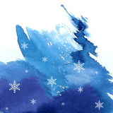 Watercolor abstract winter background Royalty Free Stock Images