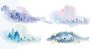 Watercolor abstract woddland, fir trees silhouette with ashes and splashes, winter background. Hand drawn illustration Royalty Free Stock Photo