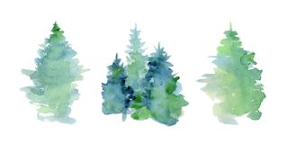 Watercolor abstract woddland, fir trees silhouette with ashes and splashes, winter background. Hand drawn illustration Stock Images