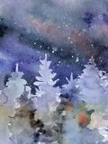 Watercolor abstract woddland, fir trees silhouette with ashes and splashes, winter background Royalty Free Stock Photo
