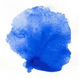 watercolor Abstracte blauwe vlek op wit waterverfdocument Stock Foto's