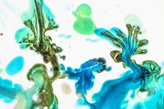 Watercolor and acrylic abstract. Colorful background. Mix, splashes and drawings of colors: blue, green, brown, yellow, white. Colorful Abstract Background, mix royalty free stock image