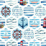 Watercolor adventure seamless pattern in patchwork marine style. Summer voyage background with lighthouse, yacht, abstract sea waves. Water color navy mosaic vector illustration