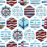 Watercolor adventure seamless pattern in patchwork marine style. Summer voyage background with lighthouse, yacht, abstract sea waves. Water color navy mosaic stock illustration