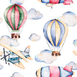 Watercolor air ballons beautifully decorated on white background Royalty Free Stock Images