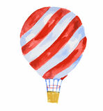 watercolor air balloon. Watercolor air balloon on white background. Beautiful and colorful balloon for decoration for holidays. Concept of travelling Stock Images