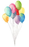 Watercolor air balloons. Hand painted illustration of blue, pink, yellow, purple balloons isolated on white background. Party or g Stock Images