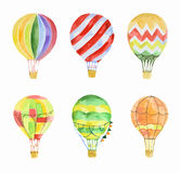 Watercolor air balloons set. Watercolor hot air balloons set on white background. Beautiful and colorful balloons for decoration for holidays. Concept of Royalty Free Stock Images