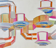 Watercolor of air ducts on the ceiling. Watercolor of air ducts tubs and cones on the ceiling Stock Images