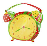 Watercolor alarm clock. Watercolor illustration of colorful alarm clock isolated on white background royalty free illustration