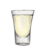 Watercolor alcohol glass. vector illustration