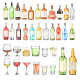 Watercolor alcohol set. Many bottles and glasses on white background. Wine, liquor, champagne and beer royalty free illustration