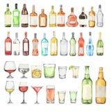 Watercolor alcohol set. royalty free illustration