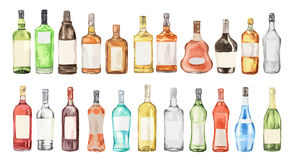 Watercolor alcohol set. Many bottles on white background. Wine, liquor, champagne and beer Stock Images