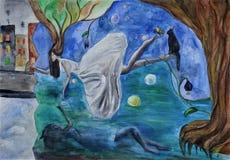 watercolor Alice v? um sonho ilustração royalty free