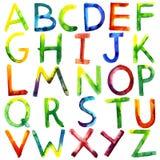 Watercolor alphabet Stock Photography