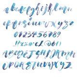 Watercolor Alphabet. Exclusive Custom Characters. Hand Lettering and Typographic art for Designs: Logo, for Poster. Invitation, Card, etc. Brush Typography Royalty Free Stock Photo