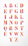 Watercolor alphabet font set illustration Stock Photography