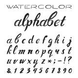 Watercolor Alphabet. Painted Vector Font. Royalty Free Stock Photo
