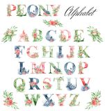 Watercolor alphabet with peonies flowers and leves. Romantic floral font. Monogram design. Watercolor alphabet with peonies flowers and leves. Romantic floral vector illustration