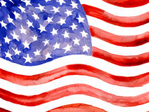 Watercolor American Flag. Royalty Free Stock Photo