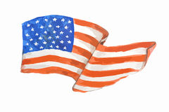 Watercolor american flag. Royalty Free Stock Images