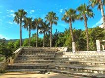 watercolor Amphitheater mit Steinreihen von Sitzen gegen den Hintergrund von Palmen stock abbildung