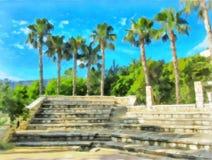 watercolor Amphitheater mit Steinreihen von Sitzen gegen den Hintergrund von Palmen vektor abbildung