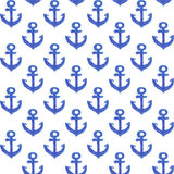 Watercolor anchor pattern Stock Photos