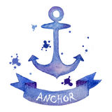 Watercolor anchor Stock Image