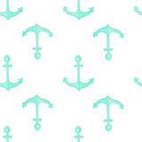 Watercolor anchor seamless pattern. Summer sea vector stock illustration