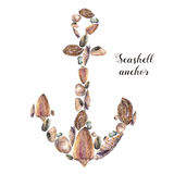 Watercolor anchor with seashells and sea pebbles. Hand painted nautical illustration isolated on white background. For Stock Photo