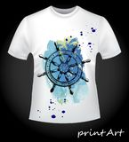Watercolor anchor on a T-shirt Stock Photo