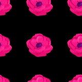 Watercolor anemone flower seamless pattern Stock Photos