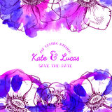 Watercolor anemone flowers invitation Stock Image